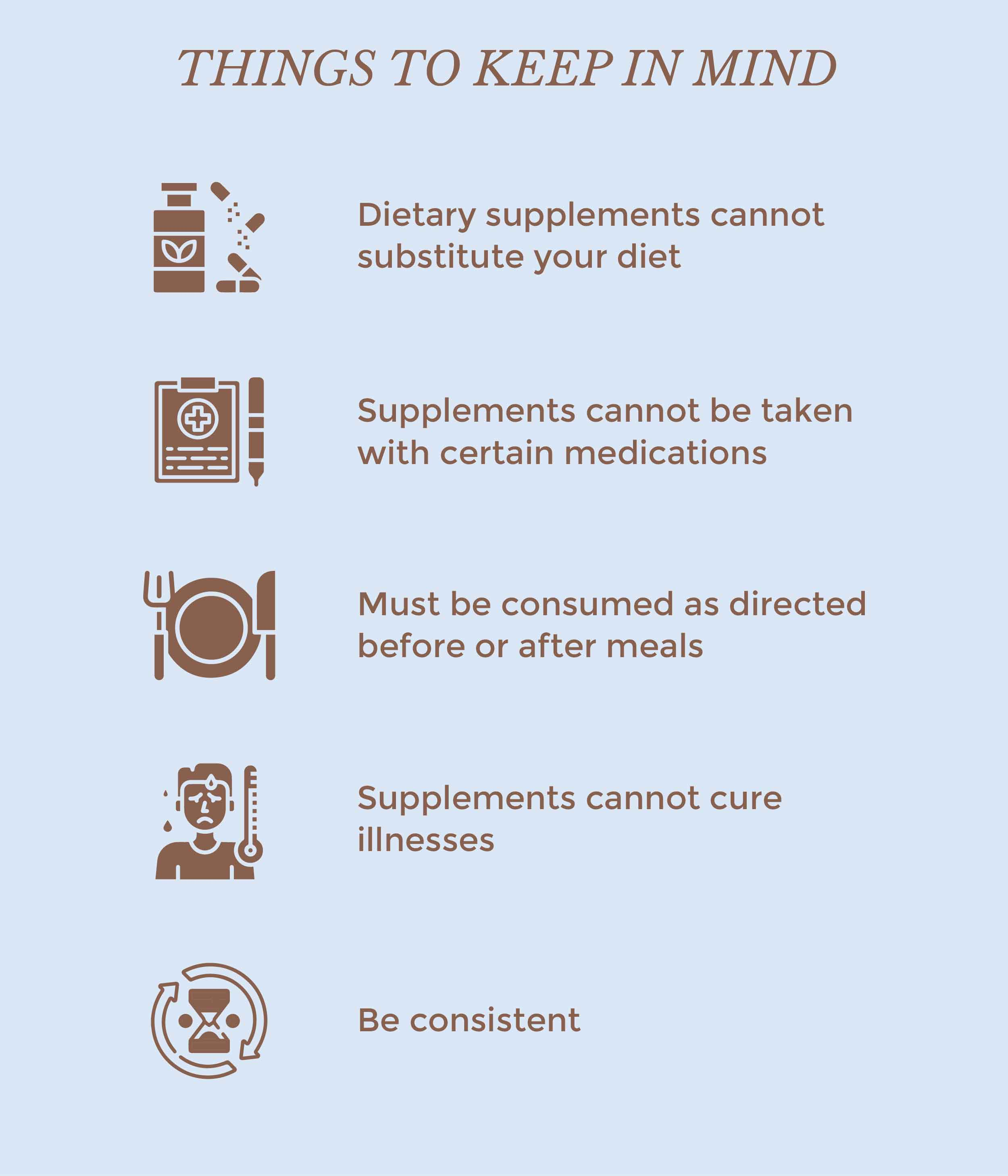 This is an image of things to keep in mind while consuming supplements