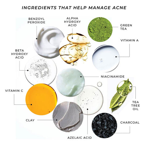 This is an image showing different ingredients that can be used for treating acne prone skin