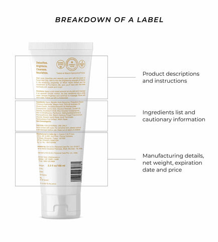 This is an image showing the different parts in skincare labels we should know and check for every product we buy