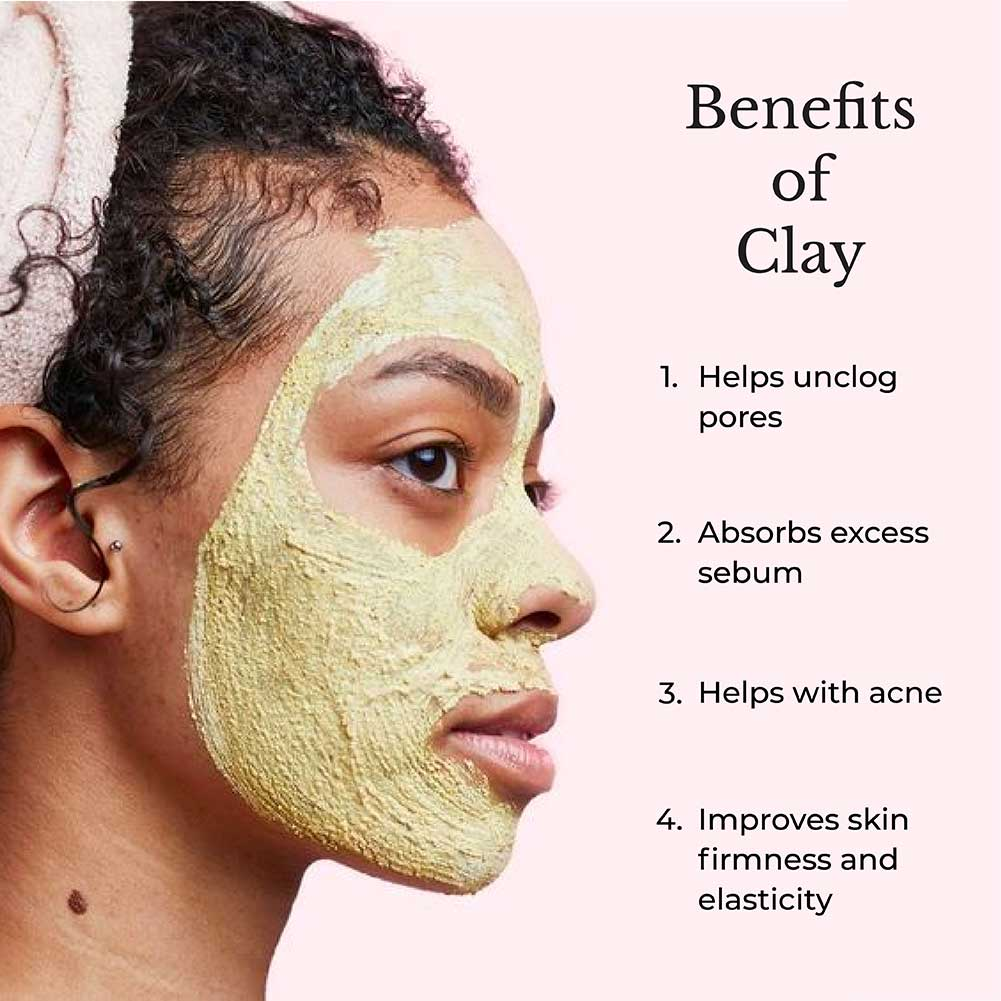 This image shows the benefits of using clays in skincare.