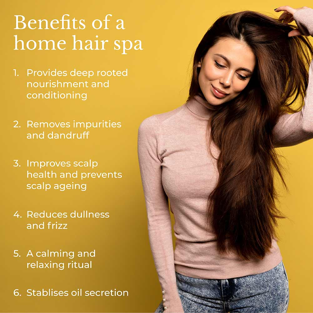 This is an image showing the benefits of having hair spa at home.