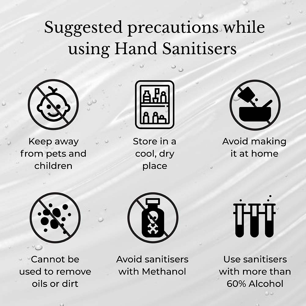 This image highlights the suggestions while using hand sanitiser.