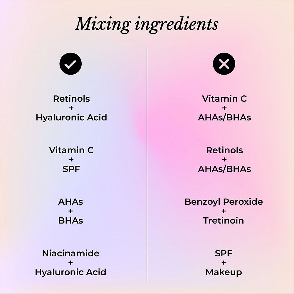 This image informs you on which ingredients can be used together.