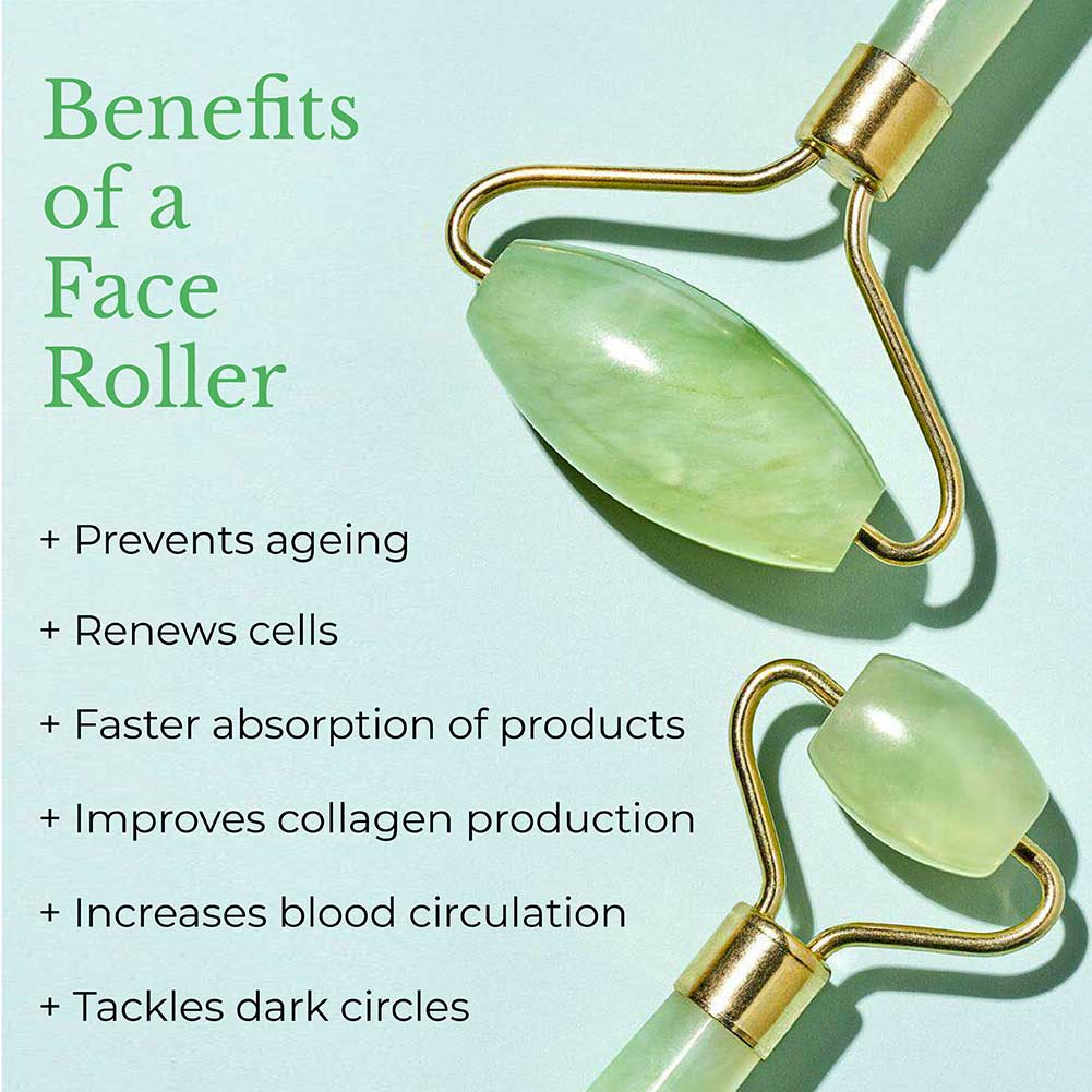 This is an image showing benefits of using a face roller regularly as a part of your skin care routine.