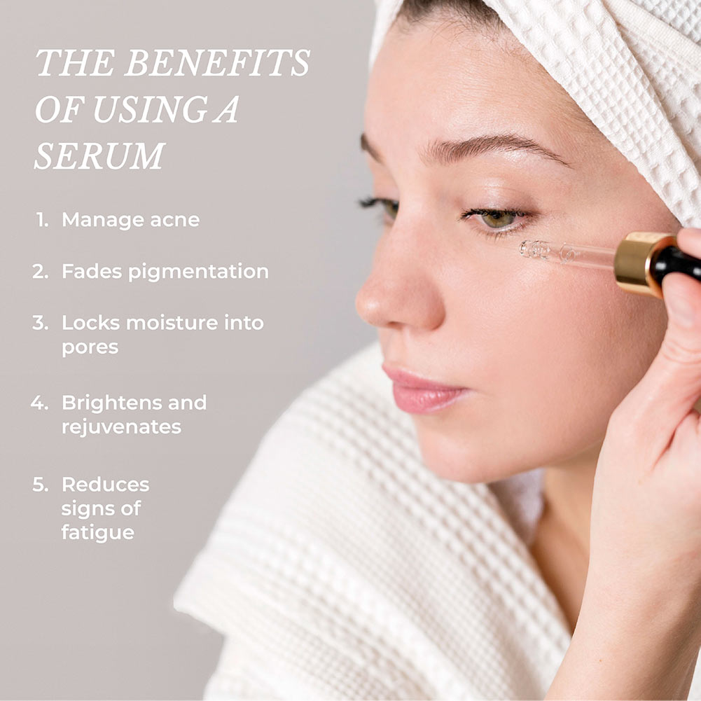 This is an image showing the different benefits of using face serums