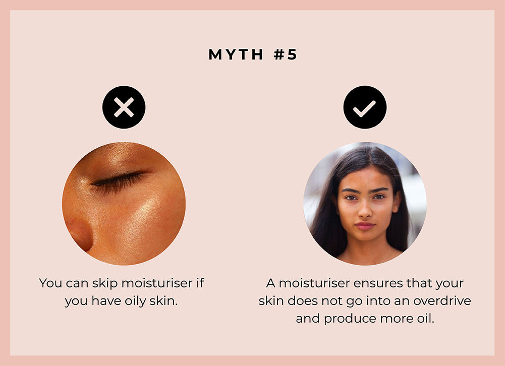 This image debunks the myth that people with oily and acne prone skin should avoid face oils and moisturiser.