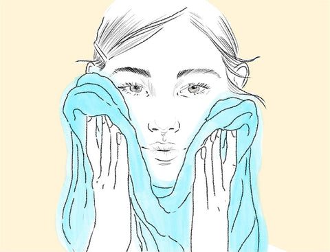 This is the step 2 of the skin test to identify each skin type. The step 2 is to pat dry your face with fresh towel