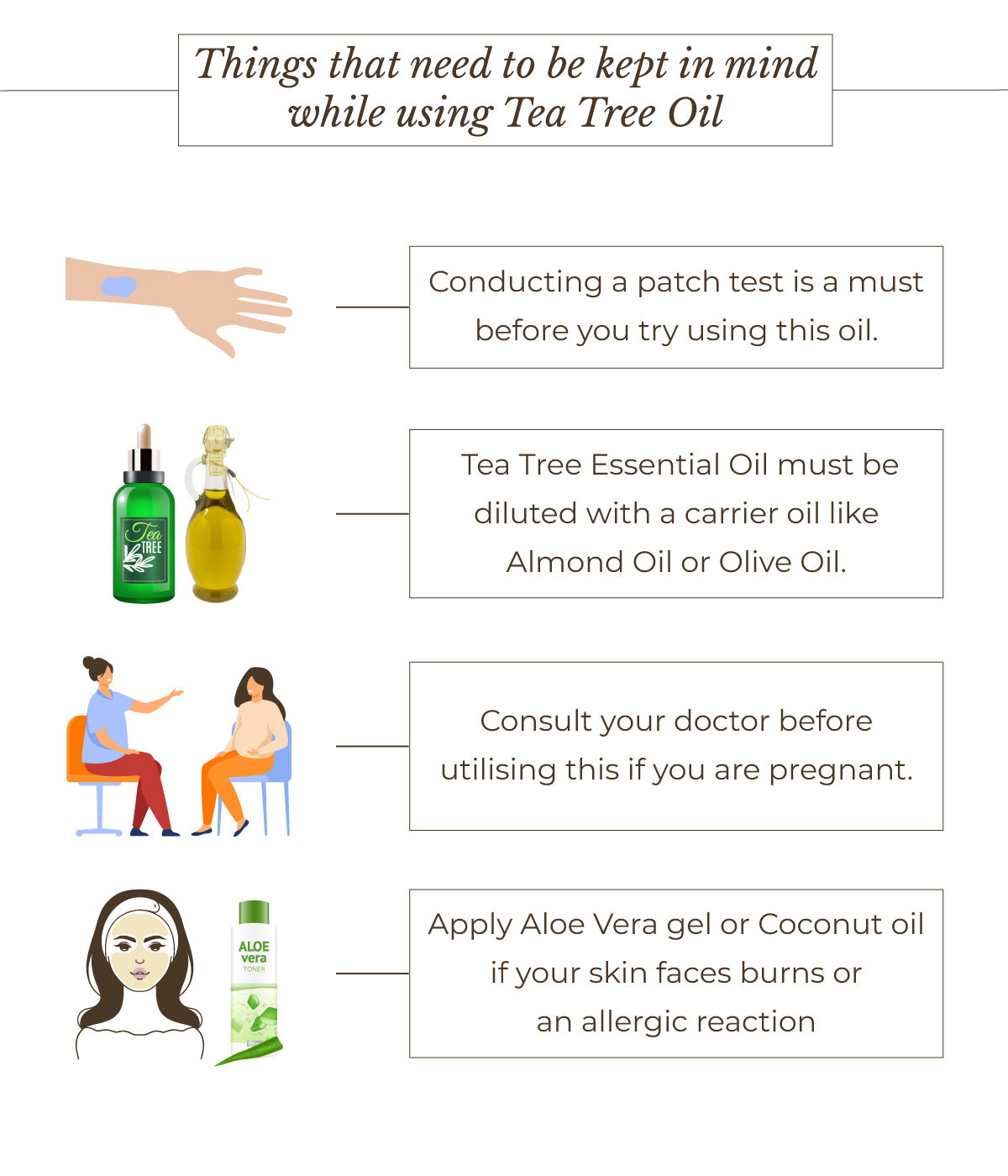 This is an image of things to keep in mind before using Tea Tree Oil