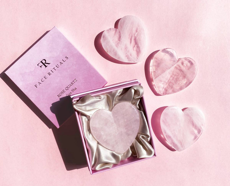 Shop Rose Quartz Heart Shape Gua Sha from Face Rituals on SublimeLife.in. Best for reducing puffiness and soothing wrinkles.