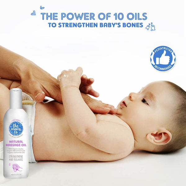 Shop Natural Baby Massage Oil from The Mom's Co on SublimeLife.in. Best for strengthen bones and muscles.