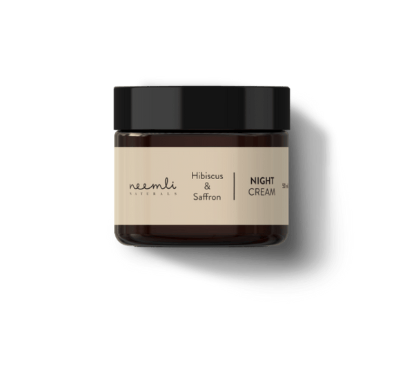 This is an image of Hibiscus & Saffron Night Cream from Neemli Naturals on SublimeLife.in. This night cream is age delaying and keeps skin hydrated.