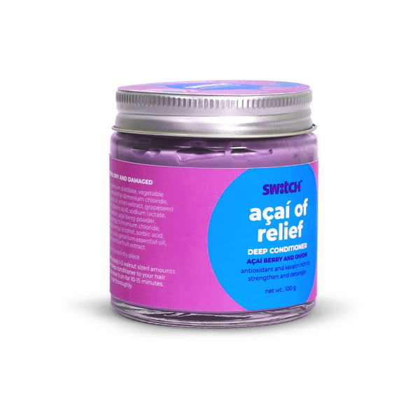 Shop Acai of Relief Deep Conditioner from The Switch Fix on SublimeLife.in. Best for strengthening and detangling hair.
