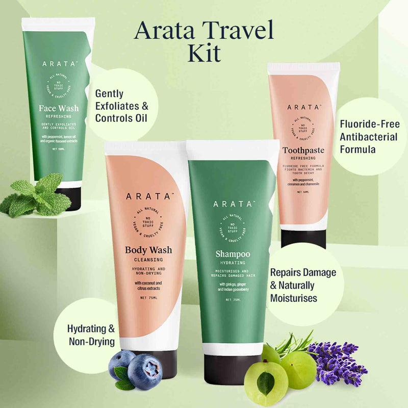 Shop Arata Travel Kit from Sublime Life.Best for gentle hair and skin routine.