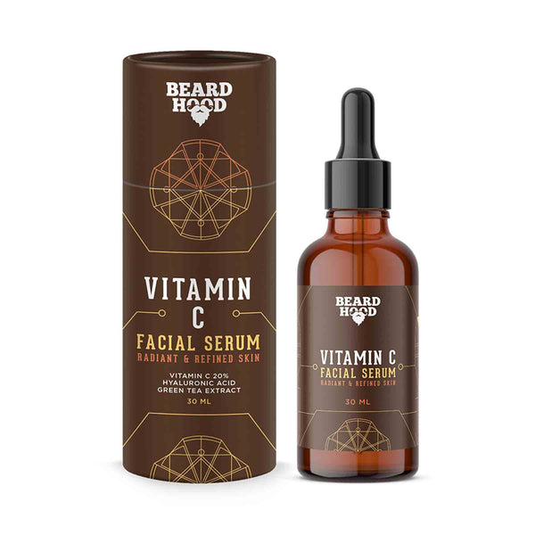 Shop Beardhood Vitamin C Serum for Face with Vitmain C 20%, Hyaluronic Acid and Green Tea Extract from Sublime Life for glowing skin!