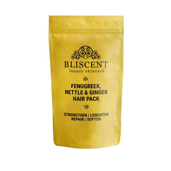 Shop Fenugreek, Nettle & Ginger Hair Pack from Bliscent on SublimeLife.in. Best for strengthening hair and repairing scalp.
