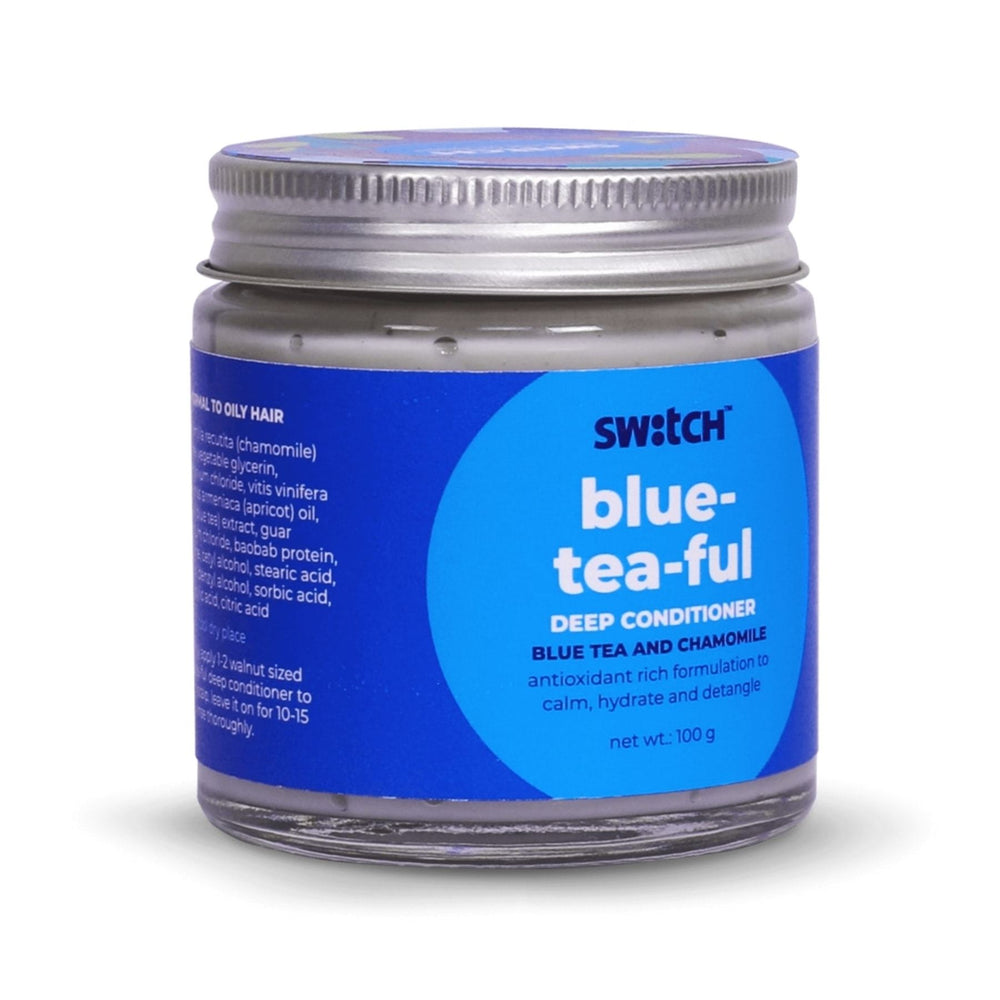 This is an image of Switch Fix Calming Blue-tea-ful Conditioner on www.sublimelife.in