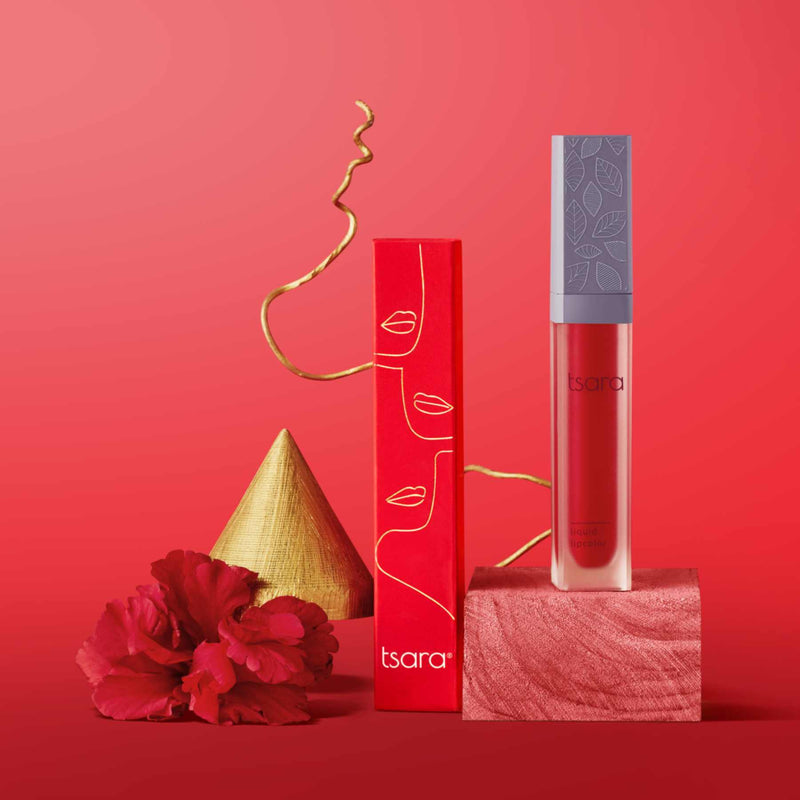 Shop Liquid Lip Color: Carmine Energy from Tsara on SublimeLife.in. Best for starting your day with loving vibes.