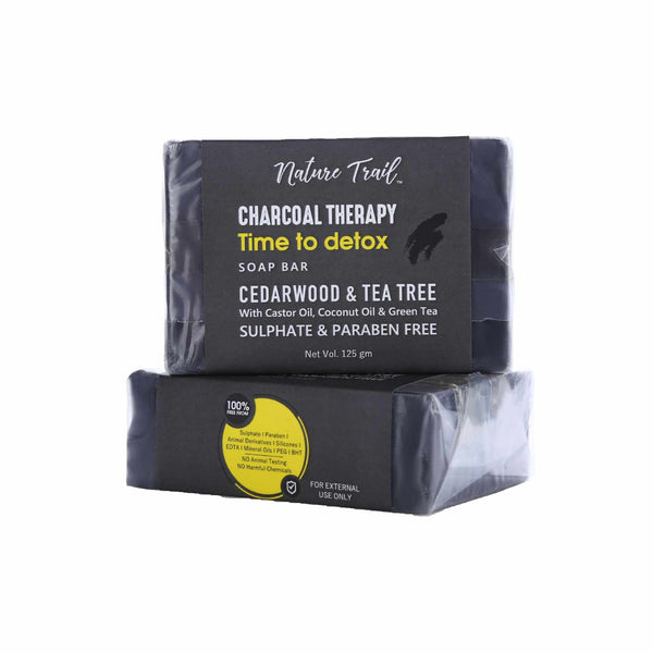 Shop Charcoal Therapy Soap Bar Combo from Nature Trail on SublimeLife.in. Best for a bright and glowing skin.