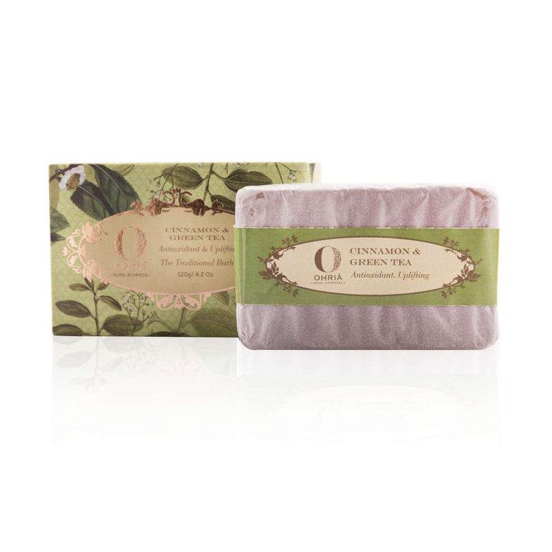 Shop Green Tea And Cinnamon Bathing Bar from Ohria Ayurveda on SublimeLife.in. Best for softening and soothing your skin.
