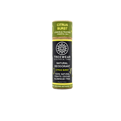 This is an image of Citrus Burst roll on Natural Deodorant from TreeWear on SublimeLife.in. Provides protection against odour and wetness while being gentle on the skin.