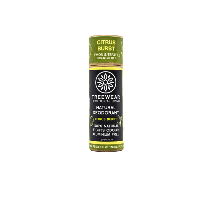 This is a stick natural deodorant aluminium free citrus essential oil scented from the brand Treewear.