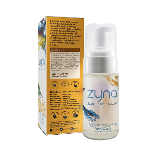Shop Clarifying & Rejuvenating Face Wash from Zyna on SublimeLife.in. Best for deep cleansing and balancing the skin.
