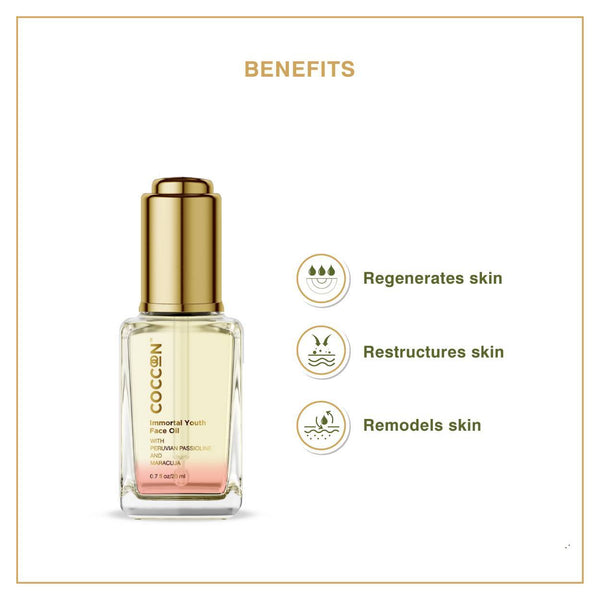 This is an image of Immortal Youth Face Oil from Coccoon on SublimeLife.in. It remodels, regenerates and restructures skin.