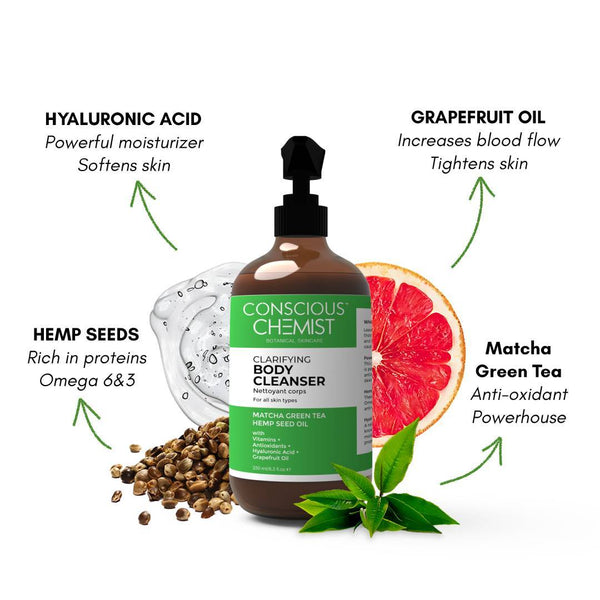 This is an image of Clarifying Body Cleanser from Conscious Chemist on SublimeLife.in. This is made Hemp Seed Oil, Matcha Green Tea, Grapefruit Essential Oil and Hyaluronic Acid.