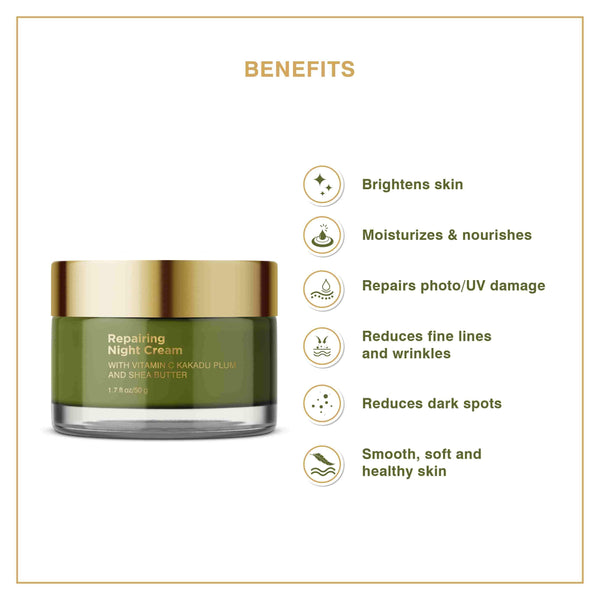 This is an image of Repairing Night Cream from Coccoon on SublimeLife.in. This cream has various benefits like reducing dark spots, wrinles and fine lines as well as getting a healthy skin.