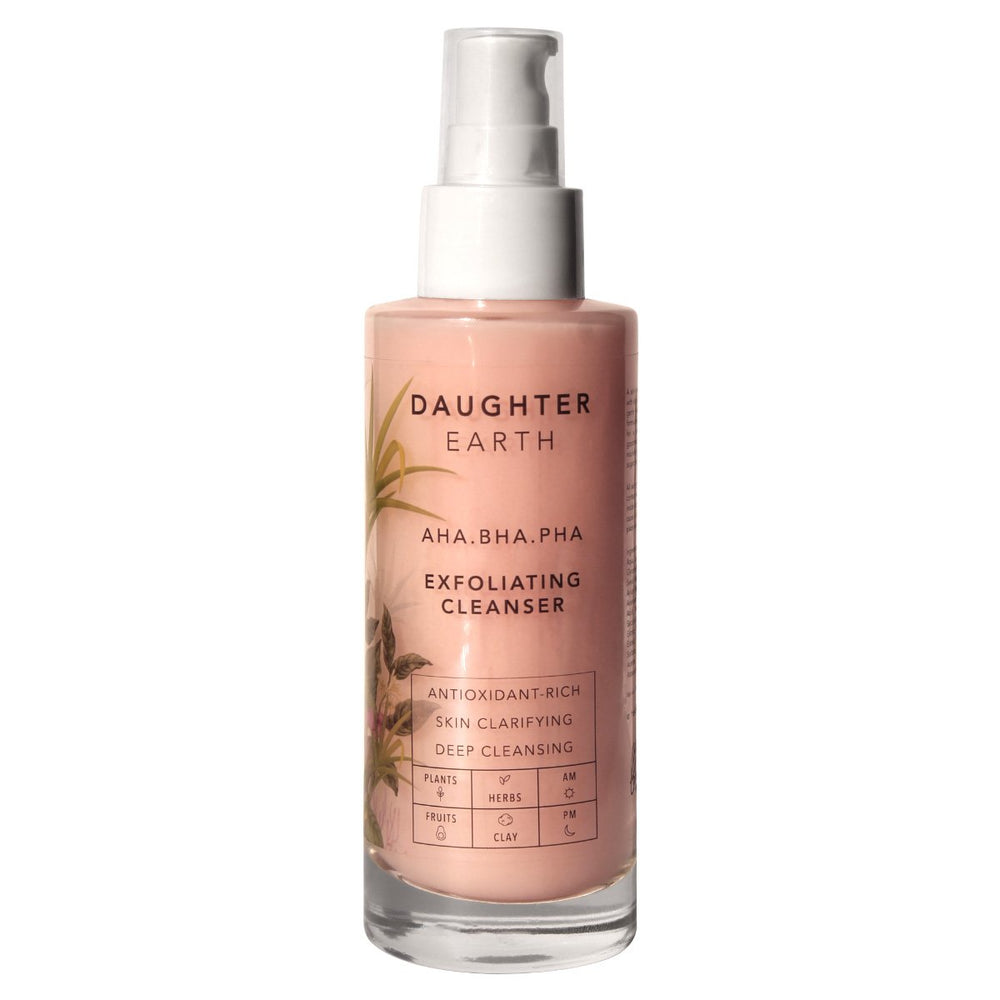 This is an image of Daughter Earth's AHA BHA PHA Exfoliating Cleanser on www.sublimelife.in