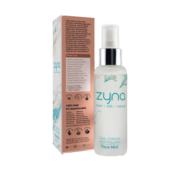Shop Daily Defence Anti-Pollution Face Mist from Zyna on SublimeLife.in. Best for tackling premature raging and pollution.