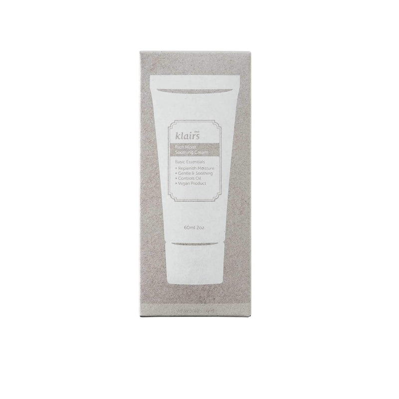 This is an image of Rich Moist Soothing Cream from Dear Klairs on SublimeLife.in. It has Yeast-derived beta glucan.
