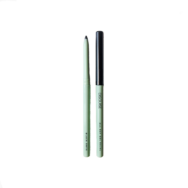 This is an image of All Day Gel Kajal-Black from Disguise Cosmetics on SublimeLife.in. This 2-in-1 kajal cum eyeliner is waterproof and smudge proof.
