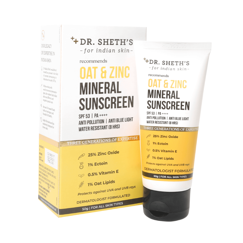 This is an image of Dr. Sheth's Oat and Zinc Mineral Sunscreen on www.sublimelife.in