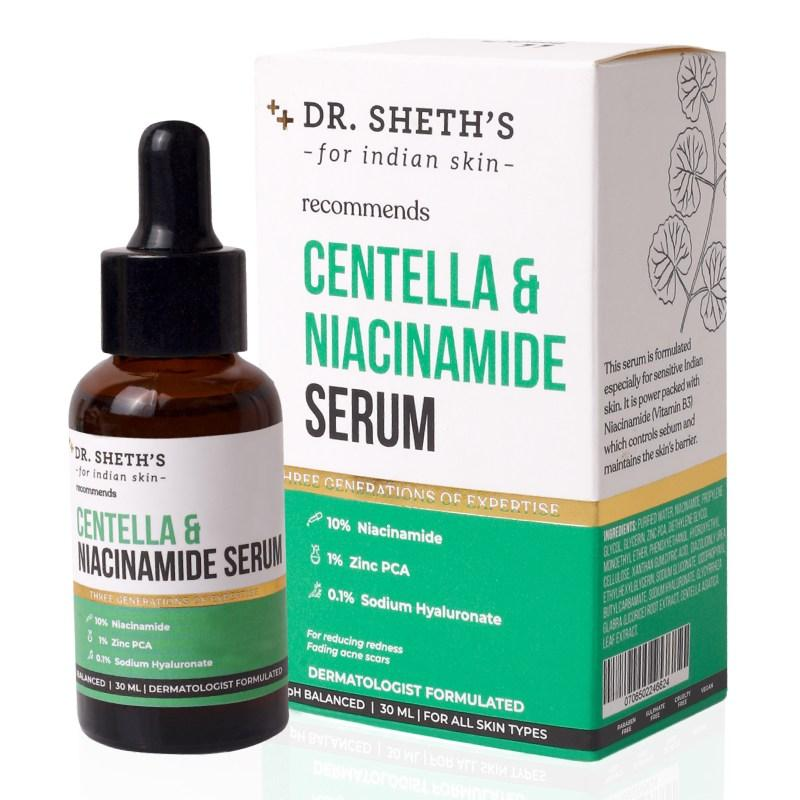 This is a image of Dr. Sheth's Centella and Niacinamide Serum on www.sublimelife.in