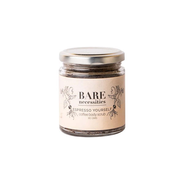 This is an image of Espresso Yourself Coffee Scrub from Bare Necessities on SublimeLife.in. Exfoliates cellulite and stretch marks.