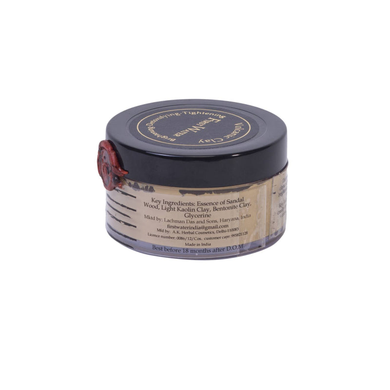 This is an image of Volcanic Clay Face Mask from First Water Solutions on SublimeLife.in. It is made from Sandalwood essence, volcanic clay and natural light kaolin clay.