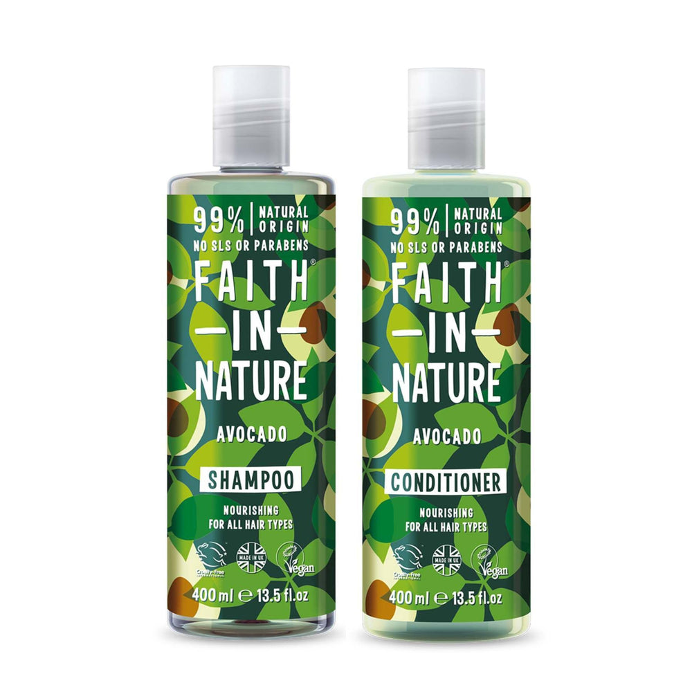 This is an image of Faith in Nature Hydrating Avocado Shampoo and Conditioner Combo on www.sublimelife.in