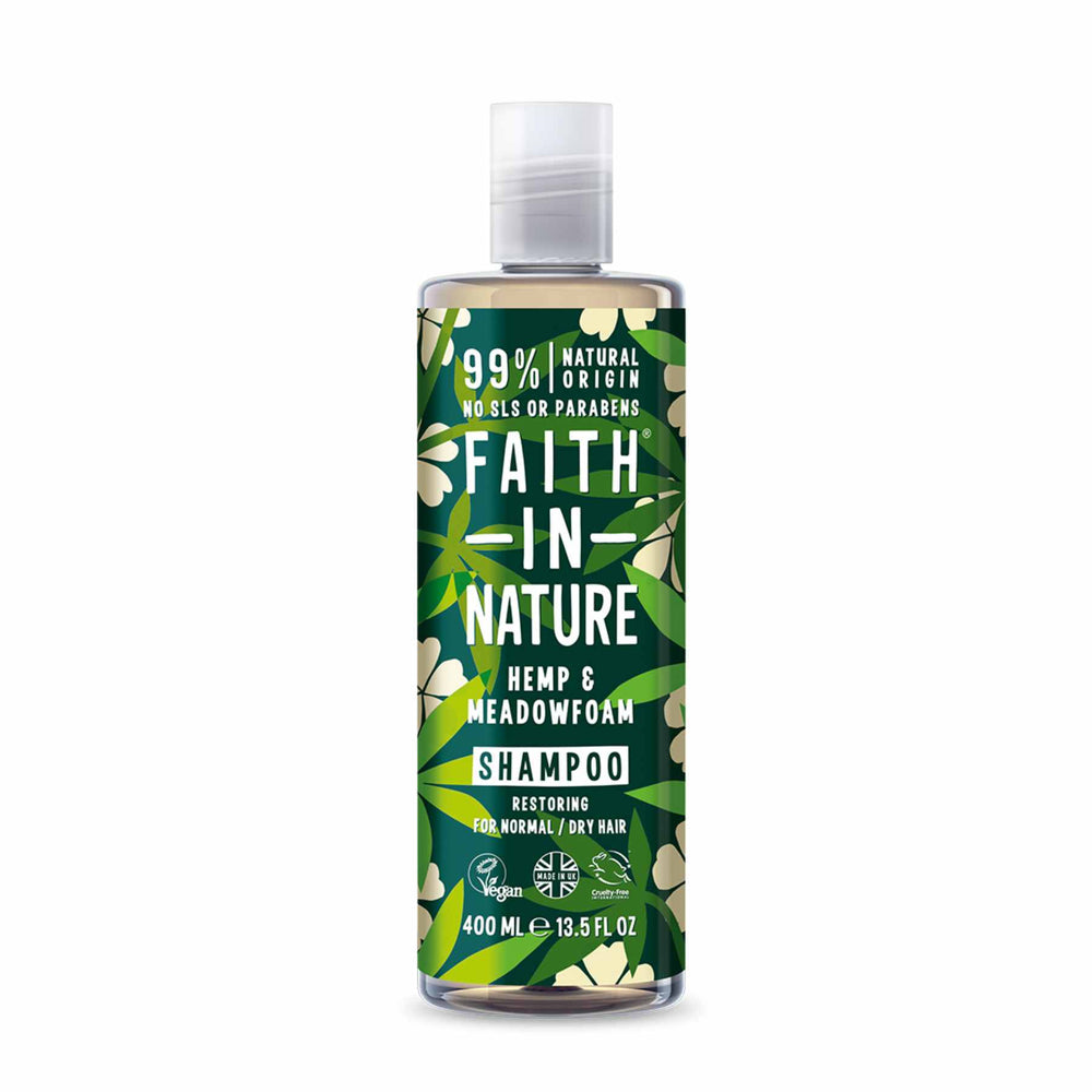 This is an image of Faith in Nature's Hemp Meadowfoam Shampoo on www.sublimelife.in