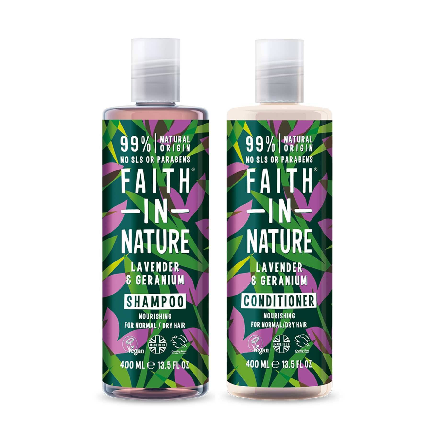 This is an image of Faith In Nature Anti-Frizz Lavender & Geranium Shampoo & Conditioner Combo on www.sublimelife.in