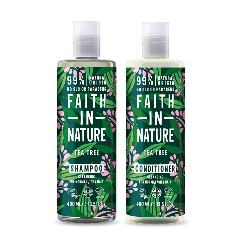 This is an image of Faith and Nature Oily Scalp Tea Tree Shampoo and Conditioner Combo on www.sublimelife.in