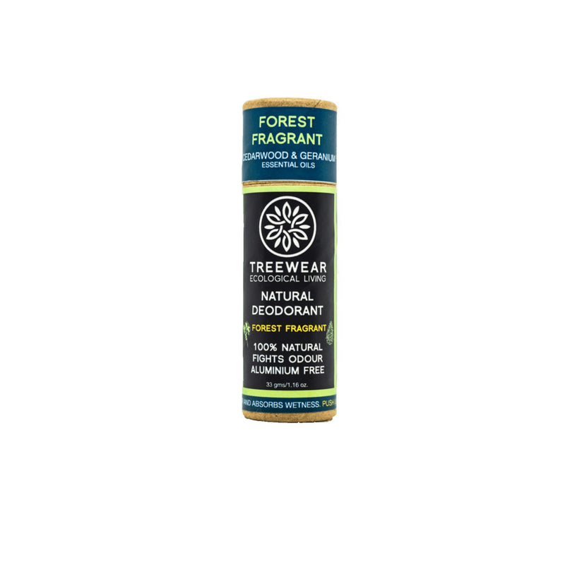 This is an image of Forest Fragrant roll on Natural Deodorant from TreeWear on SublimeLife.in.  Provides protection against odour and wetness while being gentle on the skin.