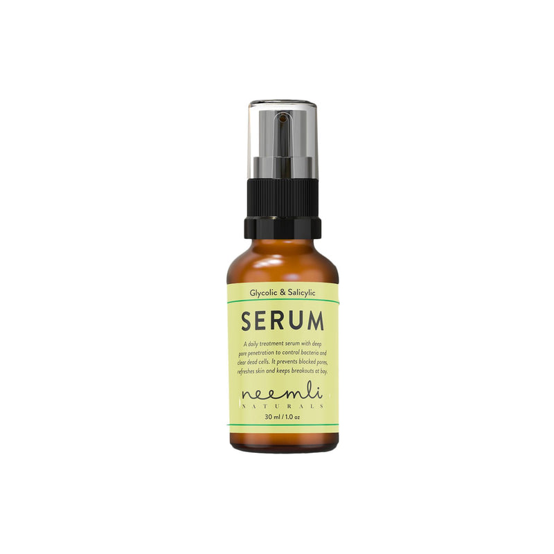 Shop Glycolic & Salicylic Acid Serum from Neemli Naturals on SublimeLife.in. Best for clogged pores, blackheads and acne.