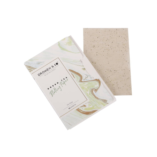 This is an image of Green Tea Blotting Paper from Dromen & Co on SublimeLife.in. It is ideal for oily skin and gives a matte look.