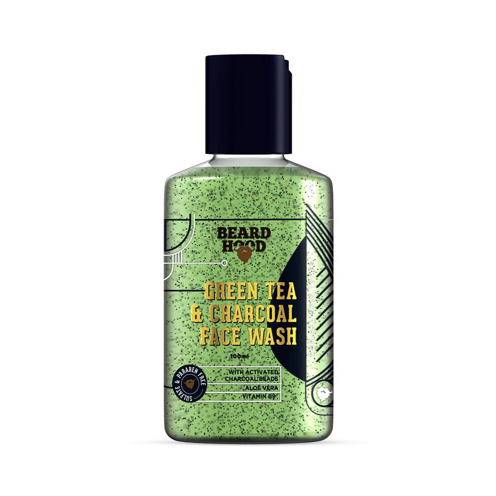 This is an image of Beardhood Green Tea & Charcoal Face Wash on www.sublimelife.in