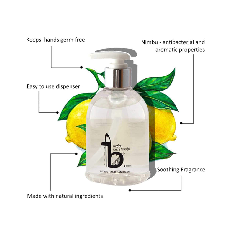 Be.The Solution Citrus Hand Sanitiser 300 ml(with 60% alcohol WHO recommended) - one sanitiser per person
