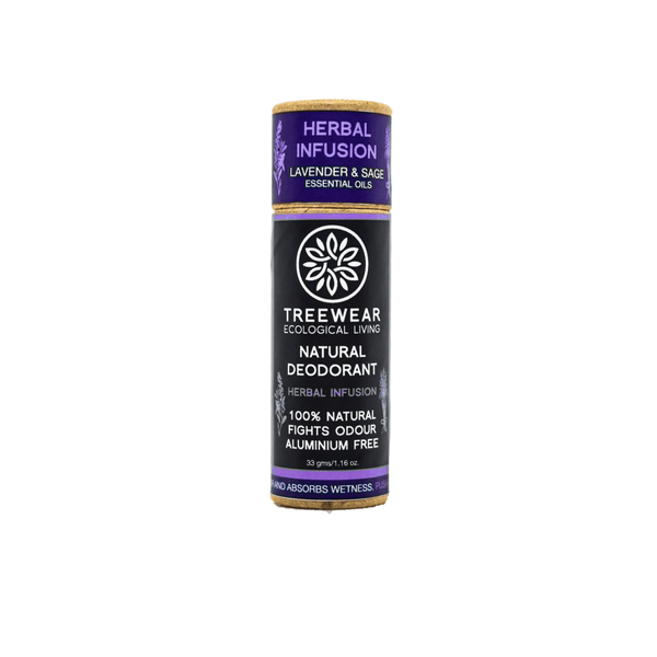 This is an image of Herbal Fusion roll on  Natural Deodorant from TreeWear on SublimeLife.in. Provides provide protection against odour and wetness while being gentle on the skin.