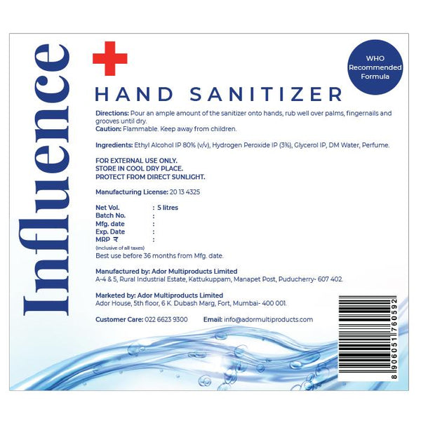 Influence PACK OF 2, 5 LITRE PACK OF TWO HAND SANITIZER (LIQUID), CITRUS 80% ALCOHOL V/V