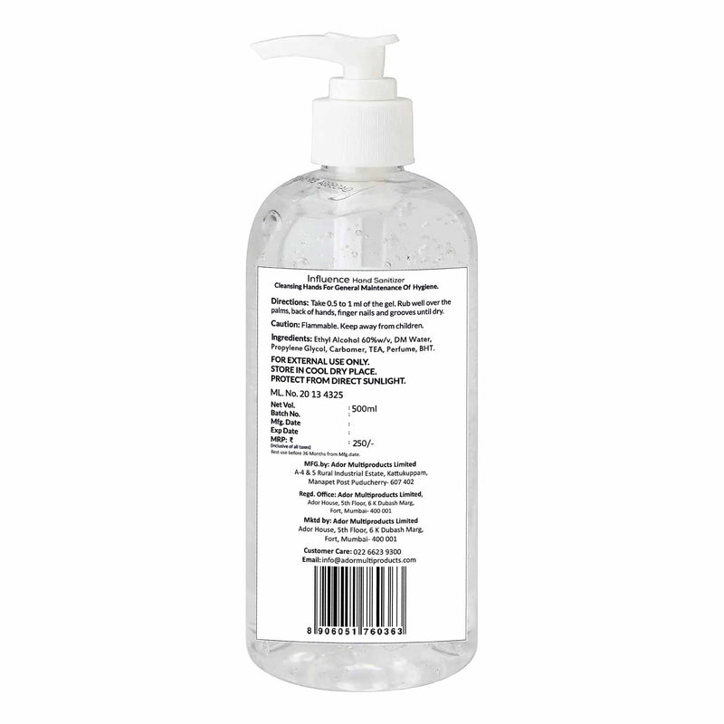 PACK OF 15, 500 ML HAND SANITIZER(GEL), CITRUS 75% V/V ALCOHOL
