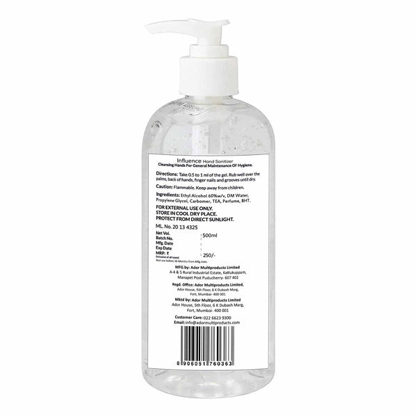 Shop 500 ml Hand Santizer Gel from Influence on SublimeLife.in. Best for killing germs and fighting bacteria.
